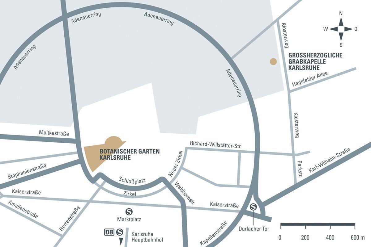 Anfahrtsskizze zur Großherzoglichen Grabkapelle und dem Botanischen Garten Karlsruhe; Entwurf: Staatliche Schlösser und Gärten Baden-Württemberg, JUNG:Kommunikation