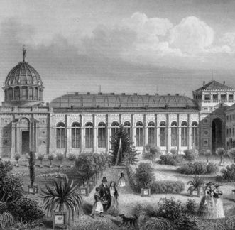 Historischer Stich des ehemaligen Wintergartens im Botanischen Garten Karlsruhe