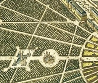 Birds-eye view of palace and the city of Karlsruhe, close-up of copper engraving by Christian Thran. Image: Landesmedienzentrum Baden-Württemberg, credit unknown