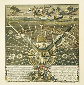 Bird's-eye view of the Residential Palace and the city of Karlsruhe, copper engraving, 1739, Christian Thran. Image: Landesmedienzentrum Baden-Württemberg, credit unknown