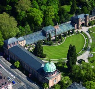 Luftbild vom Botanischen Garten Karlsruhe; Foto: Staatliche Schlösser und Gärten Baden-Württemberg, Achim Mende