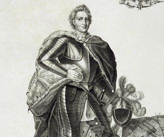 Markgraf Karl Wilhelm von Baden, Lithografie des Stadtgründers von Karlsruhe, um 1820