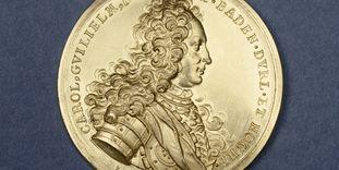 Silbermünze mit Porträtprägung von Markgraf Karl Wilhelm von Baden