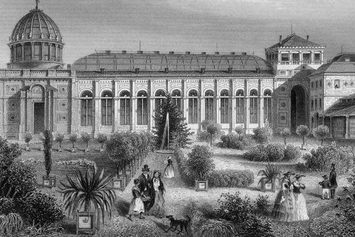 Historic print of the Karlsruhe Botanical Gardens