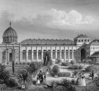 Historic photo of the former winter garden at the Karlsruhe Botanical Gardens. Image: Staatliche Schlösser und Gärten Baden-Württemberg, Sandra Eberle