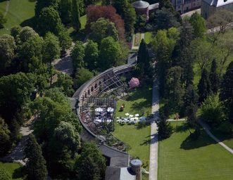 Aerial image of the Karlsruhe Botanical Gardens. Image: Staatliche Schlösser und Gärten Baden-Württemberg, Achim Mende