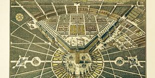 Bird's-eye view of the Residential Palace and the city of Karlsruhe, copper engraving, 1739, Christian Thran.